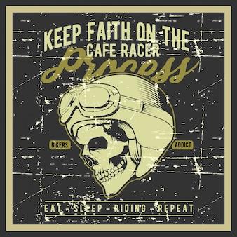 Crânio de estilo grunge vintage usando ilustração de capacete