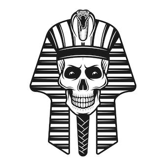 Crânio de faraó, ilustração egípcia antiga em estilo vintage