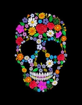 Crânio de flor bordada vintage. muertos dead day fashion