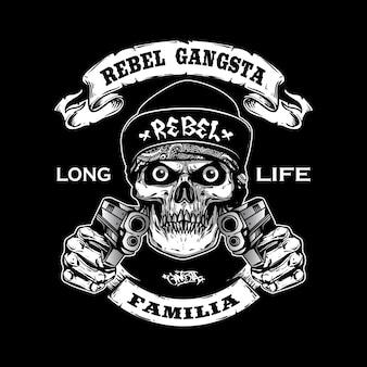Crânio de gangsta segurando armas