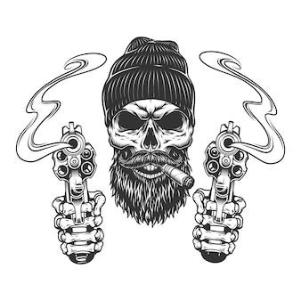 Crânio de gangster barbudo e bigode