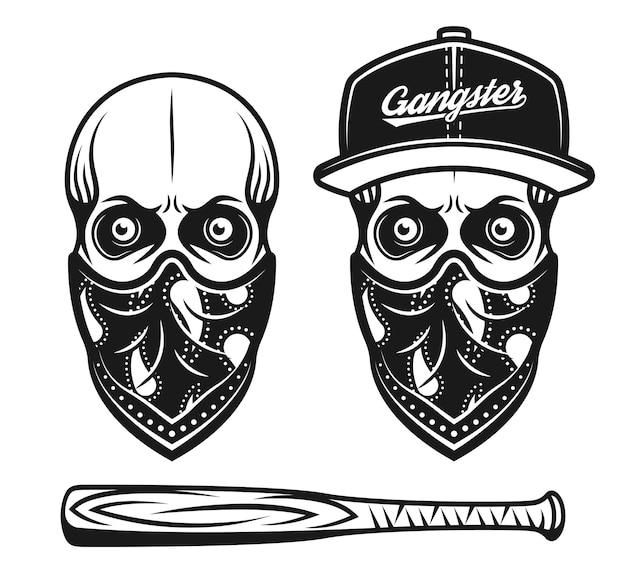 Crânio de gangster com boné de beisebol e bandana no rosto, conjunto de objetos vetoriais ou elementos de design isolados no branco