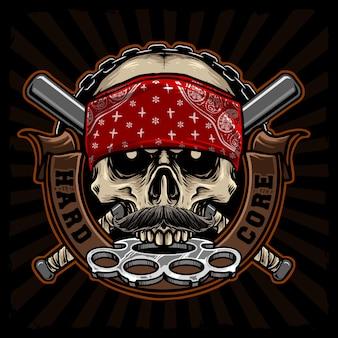 Crânio de gangster com junta de latão e design de bandana vermelha