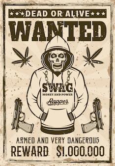 Crânio de gangster do rapper com capuz procurado pôster em ilustração vetorial de estilo vintage. em camadas, textura e texto separados do grunge