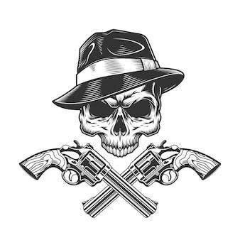 Crânio de gangster monocromático vintage sem mandíbula