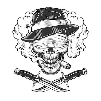 Crânio de gangster monocromático vintage