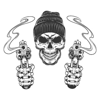 Crânio de gangster no chapéu gorro