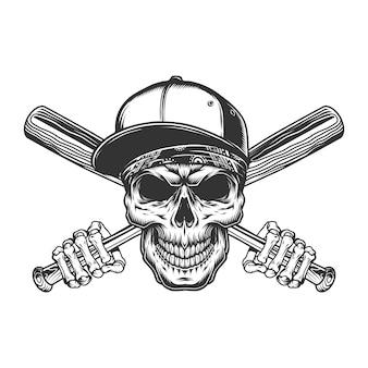 Crânio de gangster vintage no boné de beisebol