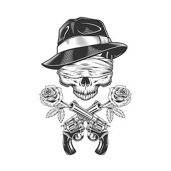 Crânio de gangster vintage no chapéu fedora