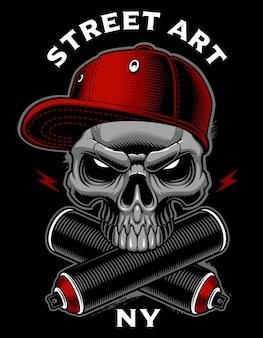Crânio de graffiti com latas de spray. design para estampas de camisetas, adesivos e muitos outros.