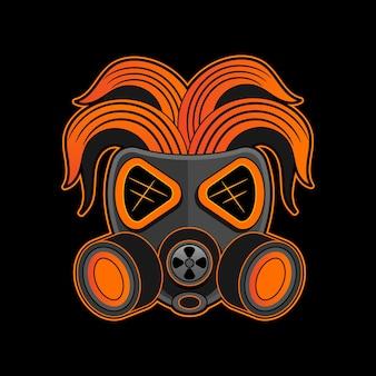 Crânio de graffiti com máscara de gás. design para estampas de camisetas, adesivos e muitos outros.