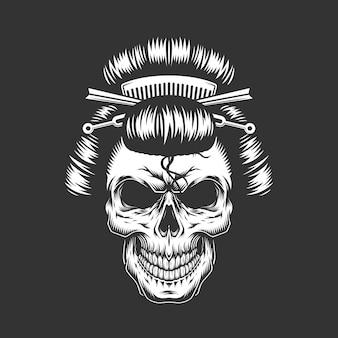 Crânio de gueixa vintage com penteado tradicional