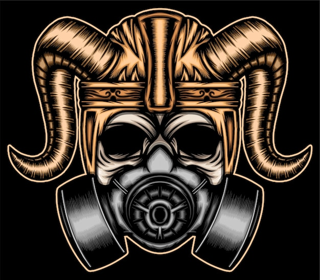Crânio de guerreiro com máscara de gás.
