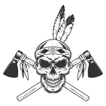 Crânio de guerreiro indiano monocromático vintage