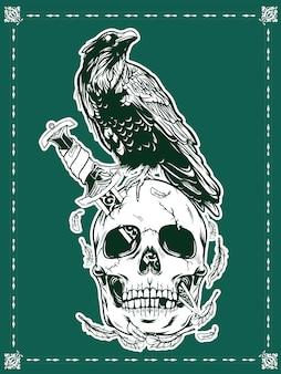 Crânio de halloween com ilustração de corvo