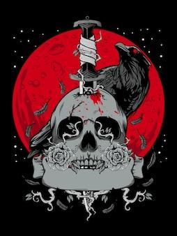 Crânio de halloween com lua escura e ilustração de corvo