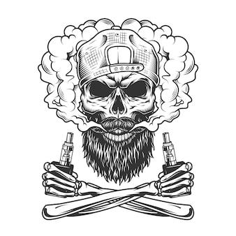 Crânio de hipster barbudo e bigode