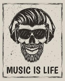 Crânio de hipster em copos com bigode e barba, ouvindo música