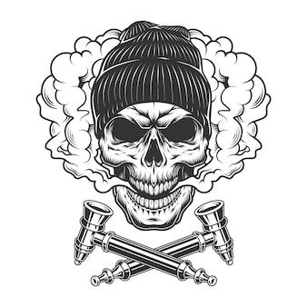 Crânio de hipster vintage usando chapéu de gorro