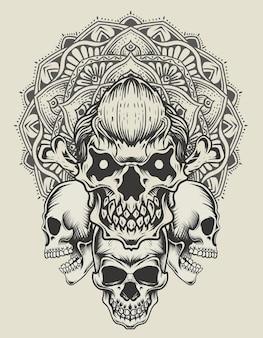 Crânio de ilustração com mandala de círculo vintage