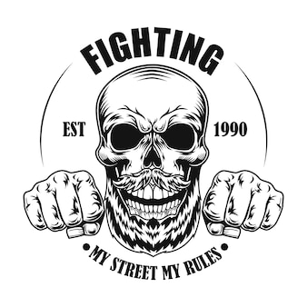 Crânio de ilustração vetorial de lutador de rua. cabeça e punhos de personagem de desenho animado com texto