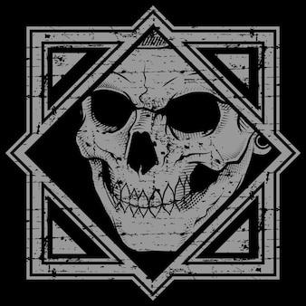 Crânio de ilustração vetorial estilo grunge