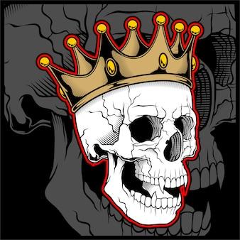Crânio de ilustração vetorial usando uma coroa de rei
