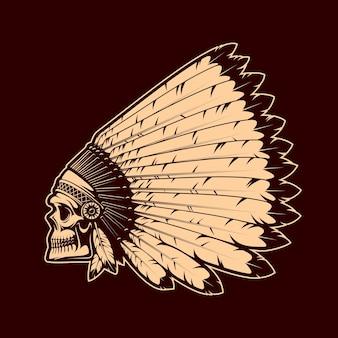 Crânio de índio americano em touca de guerra