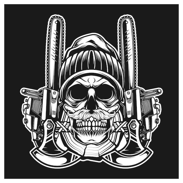 Crânio de lenhador com complemento de coelho com machado de ferramentas e motosserra