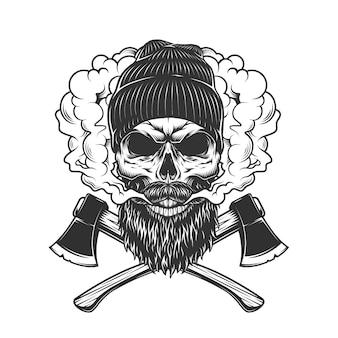 Crânio de lenhador na nuvem de fumaça