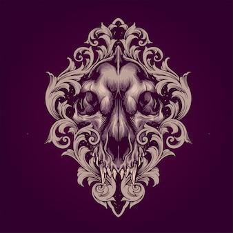 Crânio de lobo com ornamento