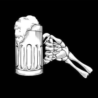 Crânio de mão segurando cerveja chocando estilo linear