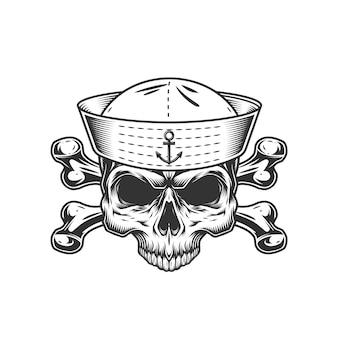 Crânio de marinheiro vintage sem mandíbula