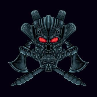 Crânio de mecha assustador com ilustração de mascote de machado