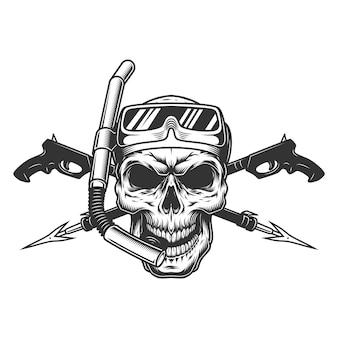 Crânio de mergulhador vintage em máscara de mergulho