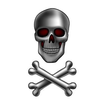 Crânio de metal com ossos cruzados
