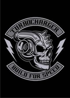 Crânio de metal turbo carregador