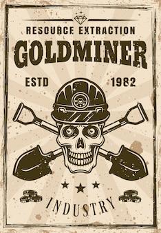 Crânio de mineiro de ouro e pôster de duas pás cruzadas em ilustração vetorial de estilo vintage. em camadas, textura e texto separados do grunge