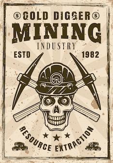 Crânio de mineiro de ouro e pôster de picaretas cruzadas em ilustração vetorial de estilo vintage. em camadas, textura e texto separados do grunge