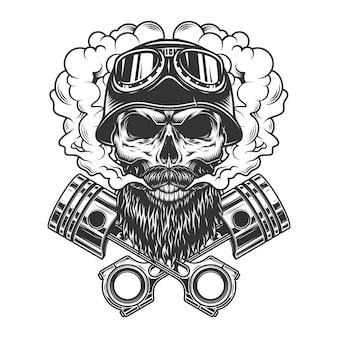Crânio de motociclista barbudo e bigode