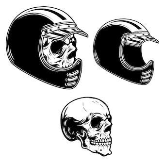 Crânio de motociclista com capacete de piloto em estilo de gravura
