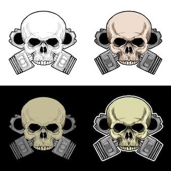 Crânio de motociclista com fundo de pistão duplo