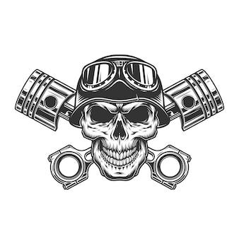 Crânio de motociclista no capacete da motocicleta