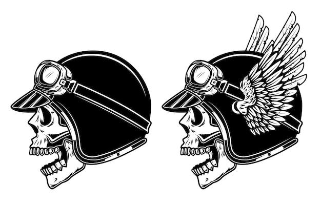 Crânio de motociclista no capacete de piloto alado.