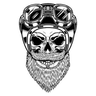 Crânio de motociclista no capacete de piloto em estilo de gravura.
