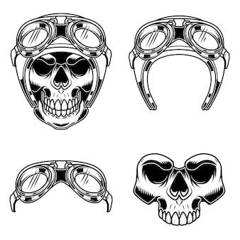 Crânio de motociclista no capacete de piloto.