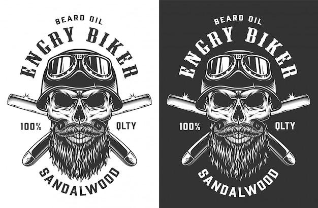 Crânio de motociclista no emblema do capacete e óculos de proteção