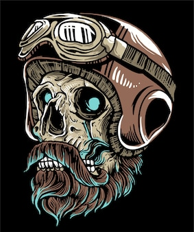 Crânio de motociclista usando capacete e óculos com bigode barba
