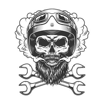 Crânio de motociclista usando capacete e óculos de proteção