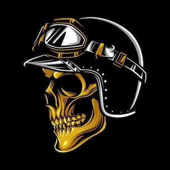 Crânio de motociclista vintage dourado